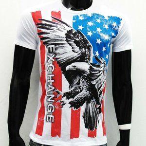 EXCHANGE MEN'S U.S.A WHITE O-NECK T-SHIRT SIZE XL